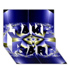 Fractal Fantasy Blue Beauty TAKE CARE 3D Greeting Card (7x5)