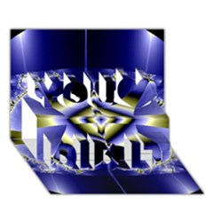 Fractal Fantasy Blue Beauty You Did It 3D Greeting Card (7x5)