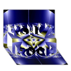 Fractal Fantasy Blue Beauty You Rock 3D Greeting Card (7x5)