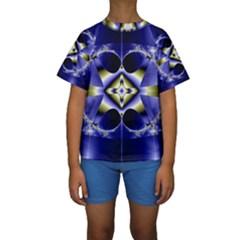 Fractal Fantasy Blue Beauty Kids  Short Sleeve Swimwear