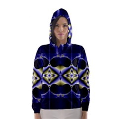 Fractal Fantasy Blue Beauty Hooded Wind Breaker (Women)