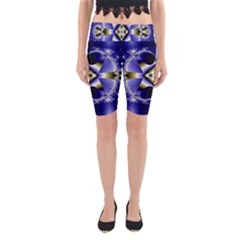 Fractal Fantasy Blue Beauty Yoga Cropped Leggings