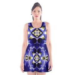 Fractal Fantasy Blue Beauty Scoop Neck Skater Dress