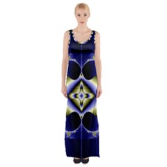 Fractal Fantasy Blue Beauty Maxi Thigh Split Dress