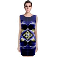 Fractal Fantasy Blue Beauty Classic Sleeveless Midi Dress