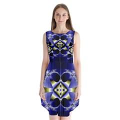 Fractal Fantasy Blue Beauty Sleeveless Chiffon Dress