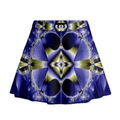 Fractal Fantasy Blue Beauty Mini Flare Skirt