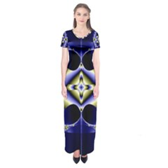 Fractal Fantasy Blue Beauty Short Sleeve Maxi Dress