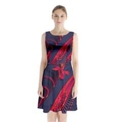 Fractal Fractal Art Digital Art Sleeveless Chiffon Waist Tie Dress