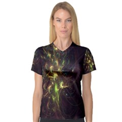 Fractal Flame Light Energy Women s V-Neck Sport Mesh Tee