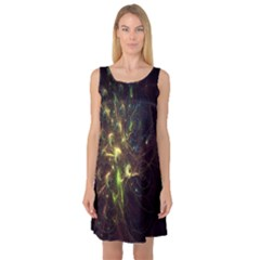 Fractal Flame Light Energy Sleeveless Satin Nightdress