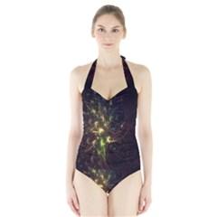 Fractal Flame Light Energy Halter Swimsuit
