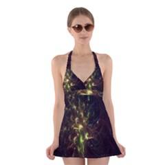 Fractal Flame Light Energy Halter Swimsuit Dress