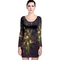 Fractal Flame Light Energy Long Sleeve Velvet Bodycon Dress