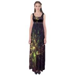 Fractal Flame Light Energy Empire Waist Maxi Dress