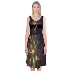 Fractal Flame Light Energy Midi Sleeveless Dress