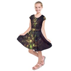 Fractal Flame Light Energy Kids  Short Sleeve Dress