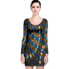 Fractal Fractal Art Digital Art  Long Sleeve Velvet Bodycon Dress