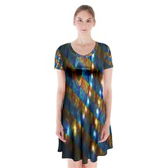 Fractal Fractal Art Digital Art  Short Sleeve V-neck Flare Dress