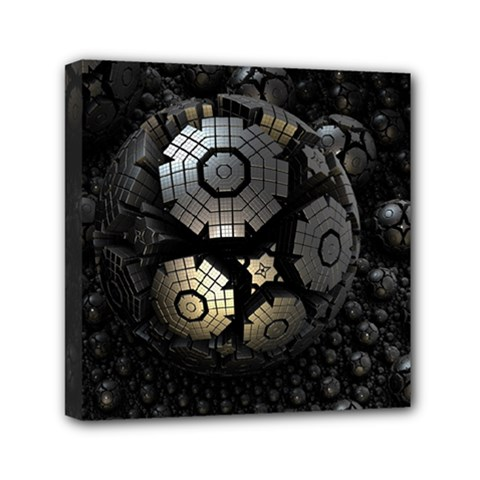 Fractal Sphere Steel 3d Structures  Mini Canvas 6  x 6
