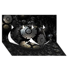 Fractal Sphere Steel 3d Structures  Twin Hearts 3D Greeting Card (8x4)