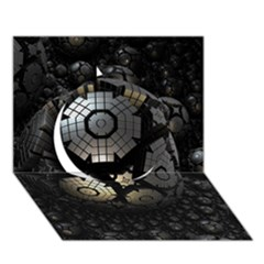 Fractal Sphere Steel 3d Structures  Circle 3D Greeting Card (7x5)