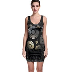 Fractal Sphere Steel 3d Structures  Sleeveless Bodycon Dress