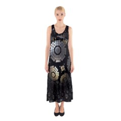 Fractal Sphere Steel 3d Structures  Sleeveless Maxi Dress