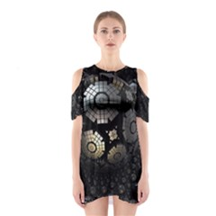 Fractal Sphere Steel 3d Structures  Cutout Shoulder Dress