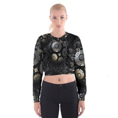 Fractal Sphere Steel 3d Structures  Women s Cropped Sweatshirt