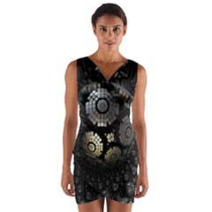 Fractal Sphere Steel 3d Structures  Wrap Front Bodycon Dress