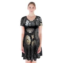 Fractal Sphere Steel 3d Structures  Short Sleeve V-neck Flare Dress