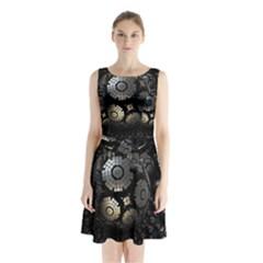 Fractal Sphere Steel 3d Structures  Sleeveless Chiffon Waist Tie Dress