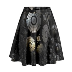 Fractal Sphere Steel 3d Structures  High Waist Skirt