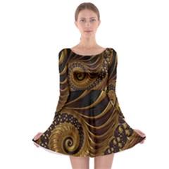 Fractal Spiral Endless Mathematics Long Sleeve Skater Dress