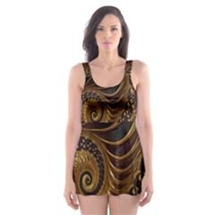 Fractal Spiral Endless Mathematics Skater Dress Swimsuit
