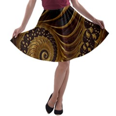 Fractal Spiral Endless Mathematics A-line Skater Skirt