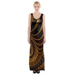 Fractal Spiral Endless Mathematics Maxi Thigh Split Dress