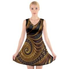 Fractal Spiral Endless Mathematics V-Neck Sleeveless Skater Dress