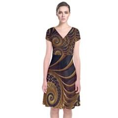 Fractal Spiral Endless Mathematics Short Sleeve Front Wrap Dress