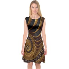 Fractal Spiral Endless Mathematics Capsleeve Midi Dress