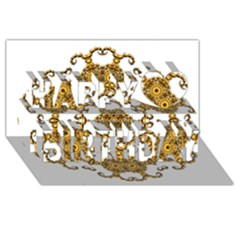 Fractal Tile Construction Design Happy Birthday 3D Greeting Card (8x4)