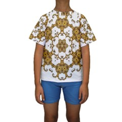 Fractal Tile Construction Design Kids  Short Sleeve Swimwear