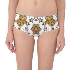 Fractal Tile Construction Design Mid-Waist Bikini Bottoms