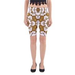 Fractal Tile Construction Design Yoga Cropped Leggings