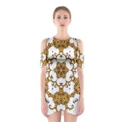 Fractal Tile Construction Design Cutout Shoulder Dress