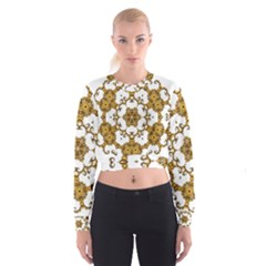 Fractal Tile Construction Design Women s Cropped Sweatshirt