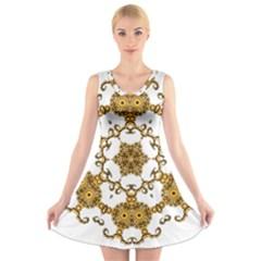 Fractal Tile Construction Design V-Neck Sleeveless Skater Dress