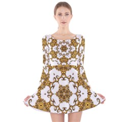 Fractal Tile Construction Design Long Sleeve Velvet Skater Dress