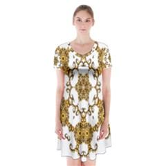 Fractal Tile Construction Design Short Sleeve V-neck Flare Dress